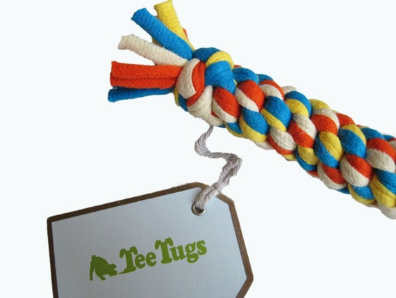 Eco Friendly Dog Tug Toy from RECYCLED T-SHIRTS