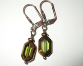 Olivine and Copper Window Pane Earrings