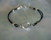 Black Leather and Silver Bracelet