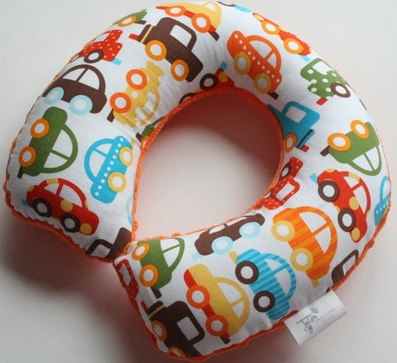 Child Travel Neck Pillow - Traffic (Organic Cotton) w/ Orange Minky