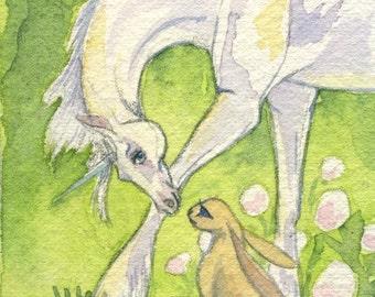Unicorn and Bunny ACEO Print