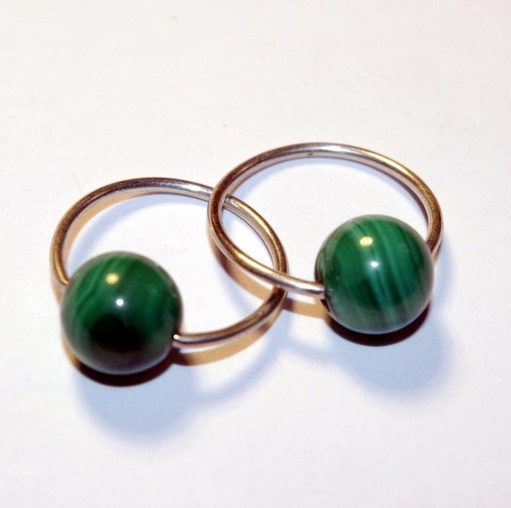 16g cbr malachite and sterling silver tension hoop earrings