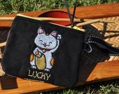 Embroidered Wallet - Embroidered Wristlet - Cat Wallet - Lucky Wallet - Good Luck Wallet -   Kawaii Cat Wallet - Good Fortune Cat Wallet