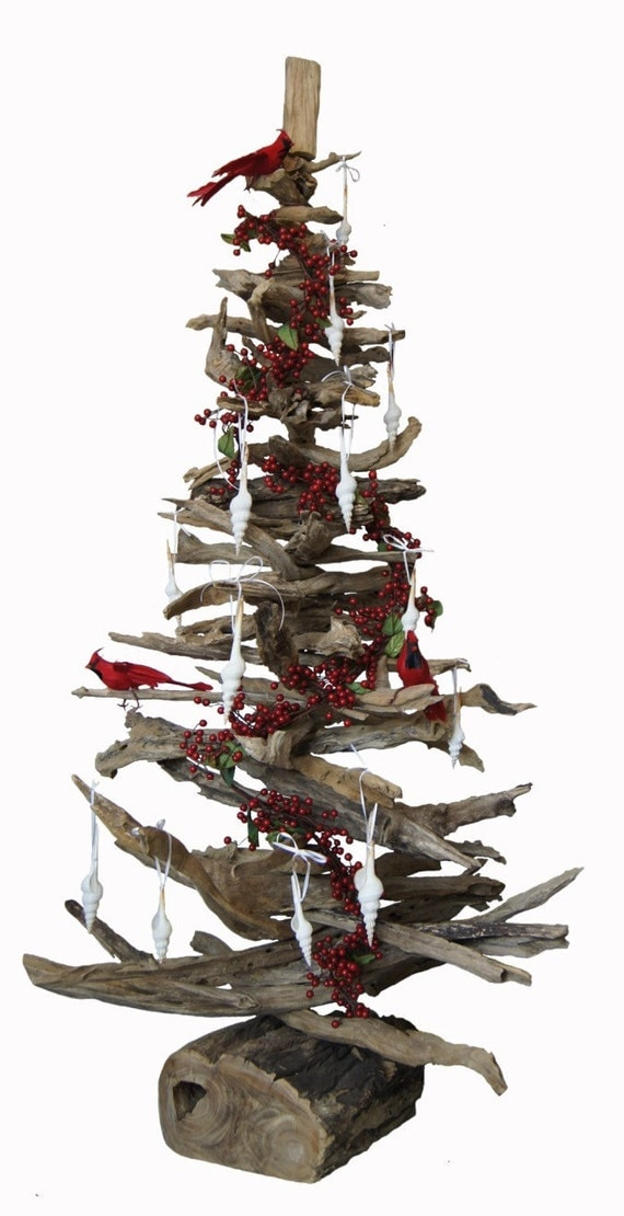 2ft natural driftwood christmas tree for How to make a hanging driftwood christmas tree
