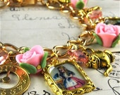 Alice in Wonderland Fairytale Charm Bracelet in Gold with Pink Roses Vintage Style