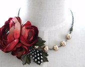 RESERVED for Hope lawson27108 Isabelle -  Woodland Red Flower Feather Special Occasion Statement Necklace