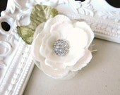 Wedding Hairpiece Off White Bridal Special Occasion Fascinator with Rhinestone Center and Green Velvet Leaves