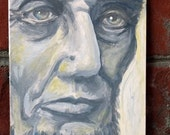 Abraham Lincoln - gray and blue portrait - small original acrylic painting - American History - Civil War