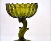 RESERVED Green Vintage Glass Bowl - Olive Footed Glass Lotus Flower Candy Dish