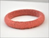 Pink Bracelet Bangle - wool wrapped yarn spring arm candy