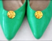 Vintage Shoe Clips - Gold Sand Dollar - Mint green gold Spring Summer Ocean Accessory
