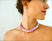 Ombre Rope Statement Necklace - pastel coral purple blue rainbow fabric jewelry