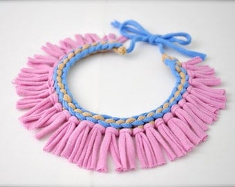 Tribal statement necklace - pastel lilac periwinkle fringe fabric jewelry