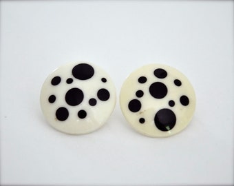 Vintage Earrings - Black White Polka Dot Geometric Circles 80s