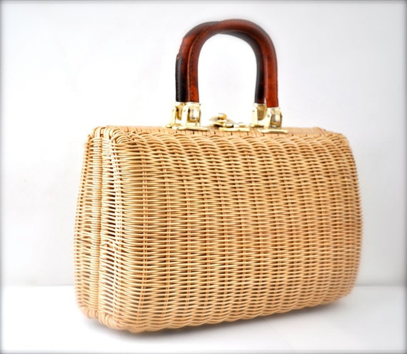 Vintage Straw Purse Handbag Wicker Romantic Spring
