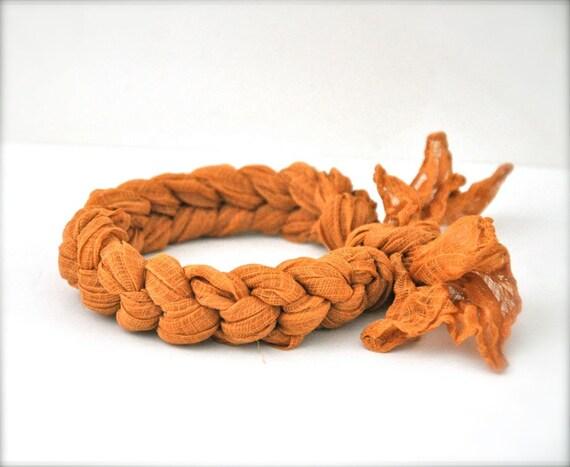 Recycled Bangle Bracelet - Yellow Gold Fabric Bangle Gold Mustard