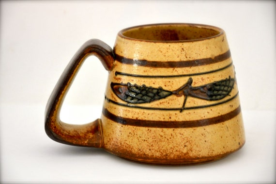 Vintage Coffee Mug - Primitive Ethnic Fish Natural Clay Tribal Earthenware Brown Man Mug