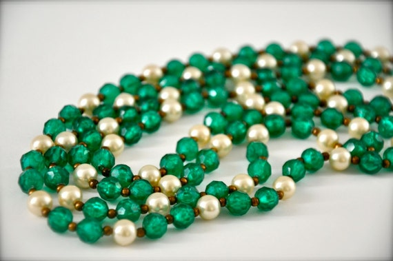 Shamrock Green Long Vintage Necklace with pearls and crystals beaded necklace