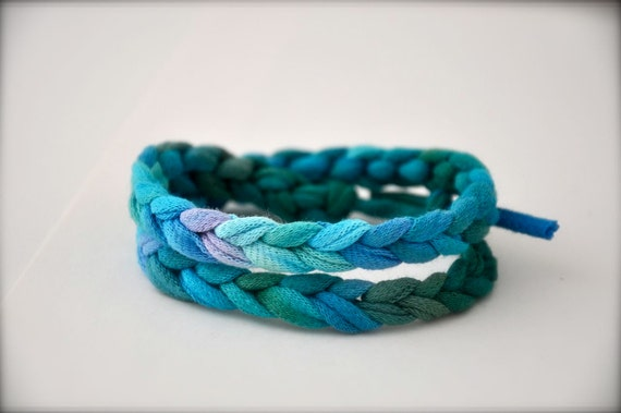 Turquoise Ombre Friendship Bracelet -  Blue Rope Braided Recycled Fabric Jewelry