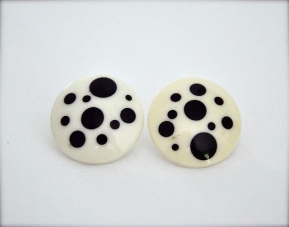 Vintage Earrings - Black White Polka Dot Geometric Circles 80s