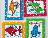 One Fish Two Fish-Dr Seuss Inspired 4 Piece 8x10 Wrapped Canvas Bathroom Set