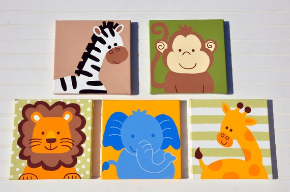 Items similar to 5 piece original painting canvas animal for Kids room canvas
