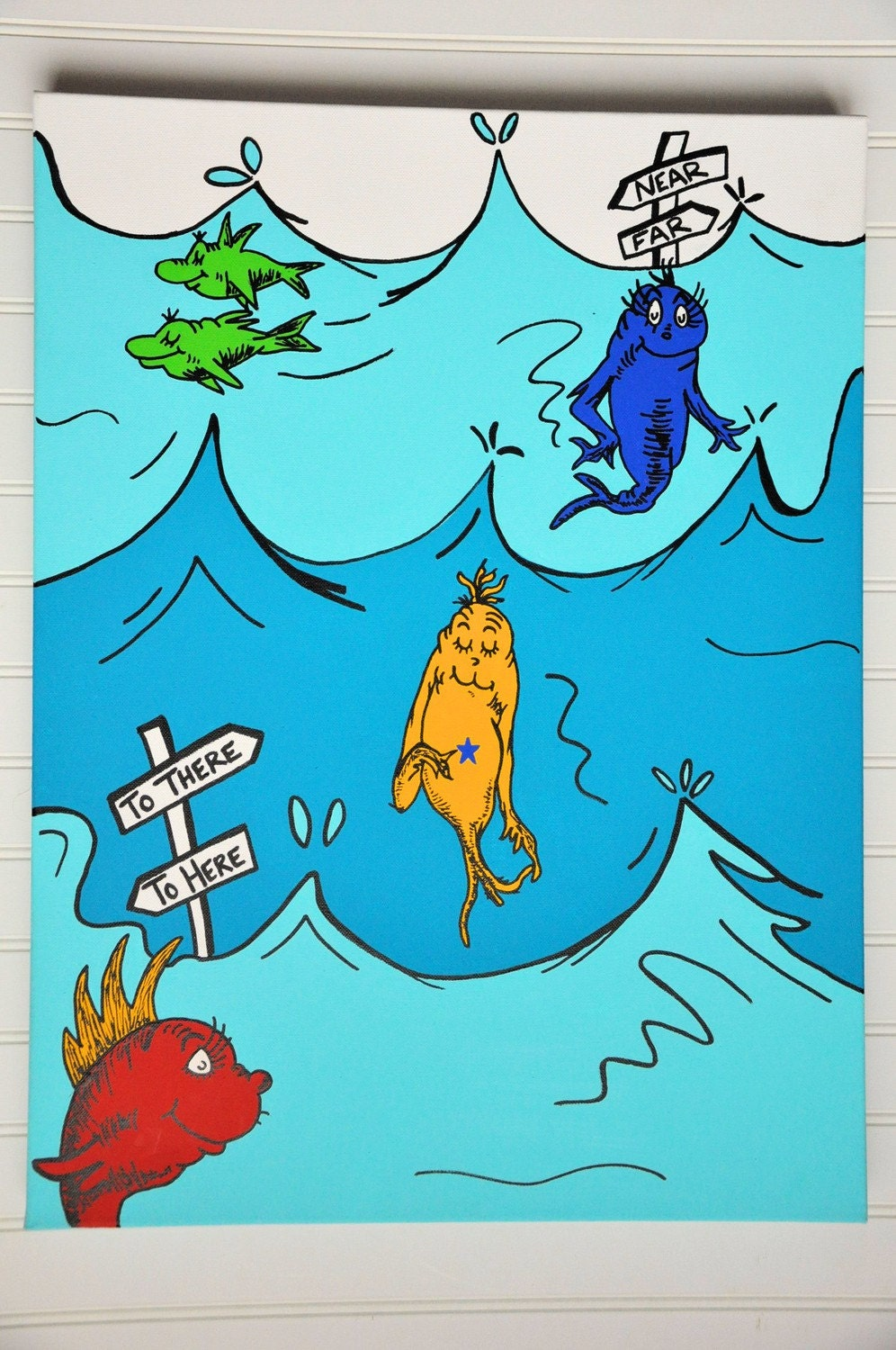 Items similar to dr seuss one fish two fish 18x24 for Dr suess fish