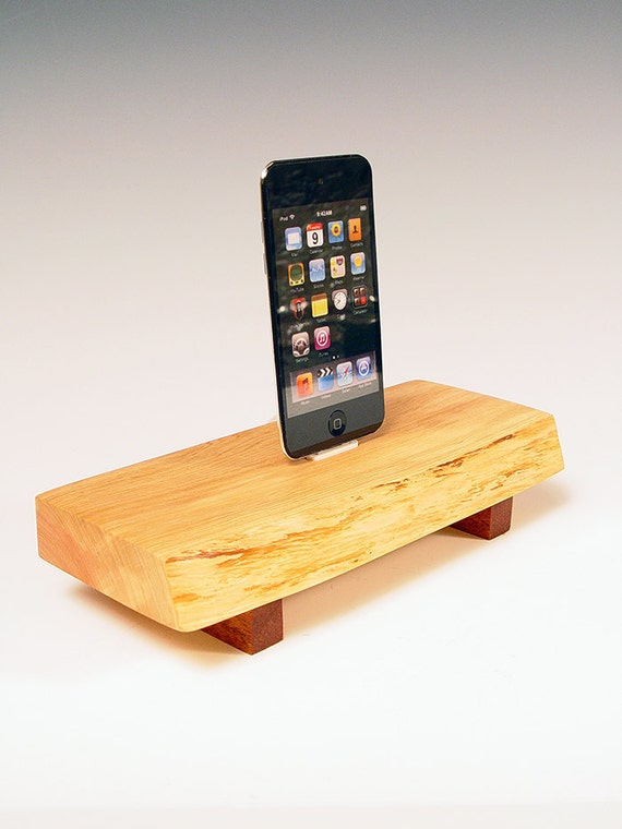 50% OFF SALE. iPhone dock. Ipod dock. Simple Zen bench of juniper and walnut. Natural edge. Naturally sophisticated. 65