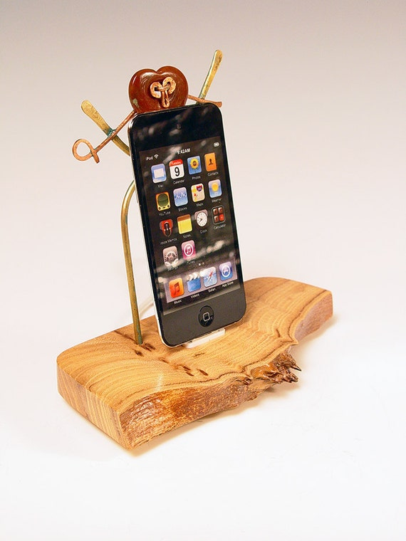 50% OFF. Handmade madrone wood burl, brass and stone dock for your iPod and iPhone
