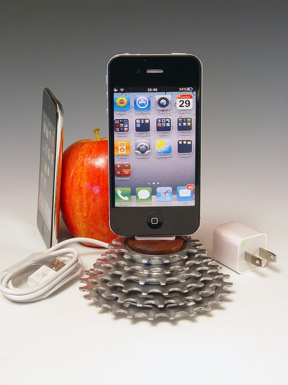 iPhone dock. iPod dock. Recycled bicycle gear and walnut. 218. Wall charge adapter. A unique gift for a cyclist, gear head, or steampunk.