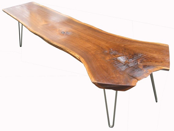 Live Edge Black Walnut Coffee Table with Hairpin Legs