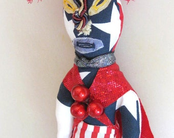 Wrestler  Doll Red White Blue One of a Kind Handmade Wishing Doll
