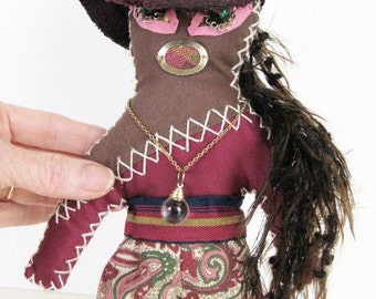 Hipster Doll with Crystal Ball One of a Kind Handmade Wishing Doll
