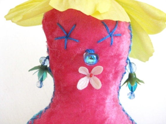 Paiella  the Spicey Pink and Yellow OOAK Voo De Doo Wishing Doll