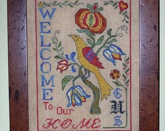 Fraktur Bird Welcome