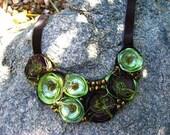 Vintage Look Gorgeous Brown and Olivine Satin Flower Bib Necklace