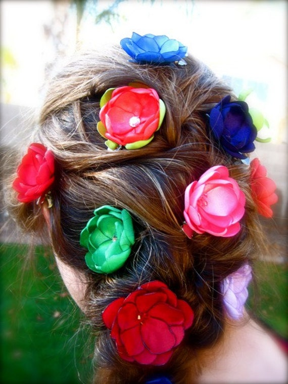 Tangled Flowers 12 small colorful Satin flower hair accessories