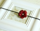 Petite Red Rose with Pearl on skinny Black Headband