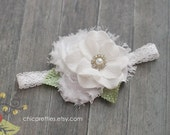 Gorgeous White Baby Flower Headband Skinny Lace Headband. Perfect for Baptism, Christening and Newborn Prop.