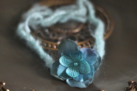 Pretty Turquoise Flower Halo Headband. Adjustable to fit Newborn to Adult.