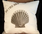 """Sea shell decorative PILLOW COVER, """"By The Sea"""" number 2, washed natural canvas 16 x 16"""