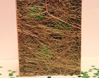 St. Patrick's Day Card - Looking for Shamrocks - Fiber Weaved St. Patricks Day Handmade Card