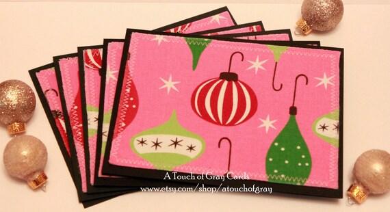 1950s Ornaments - Retro Inspired Handmade Fabric Blank Christmas Notecards (Set of 5)