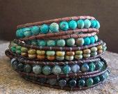 1x Leather Wrap Bracelet Southwest Design Green Turquoise Beaded, Southwestern