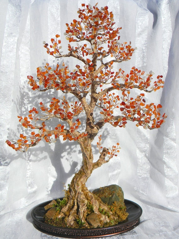 Autumn Bonsai Tree Handmade Home Decor Wire Beaded Sculpture