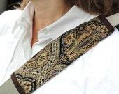 SALE - Car Accessory Golden Seat Belt Shoulder Strap Black Brown Gold Crest