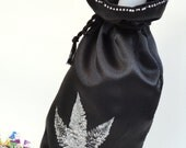 Black Satin Wine Bag - Silver Accents