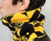 Football Cowl Neck Tube Black and Yellow - Fleece