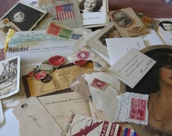 Vintage Ephemera Grab Pack 25 pieces for Scrapbooking or Collage