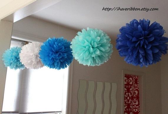 10 pcs 9'' tissue pom poms set, choose your colors